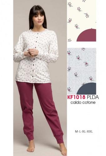 Pigiama donna aperto in cotone caldo Karelpiu' KF1018