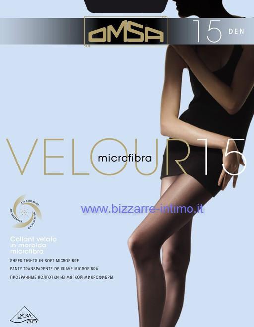2 Collant donna Omsa 15 denari in microfibra velata tutto nudo art Velour 15